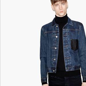 The Kooples Selvedge Denim W/Leather Pocket Jacket